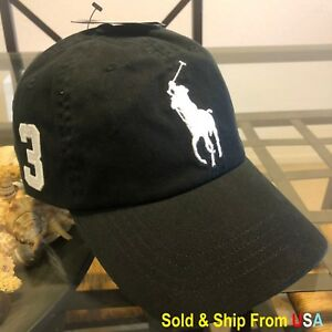 d4c603ea722 POLO RALPH LAUREN BLACK BIG PONY STRAP BACK 1SIZE BASEBALL CAP HAT ...