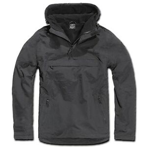 Brandit-Windbreaker-negro-con-capucha-Chaqueta-impermeable-Hombre-Talla-especial