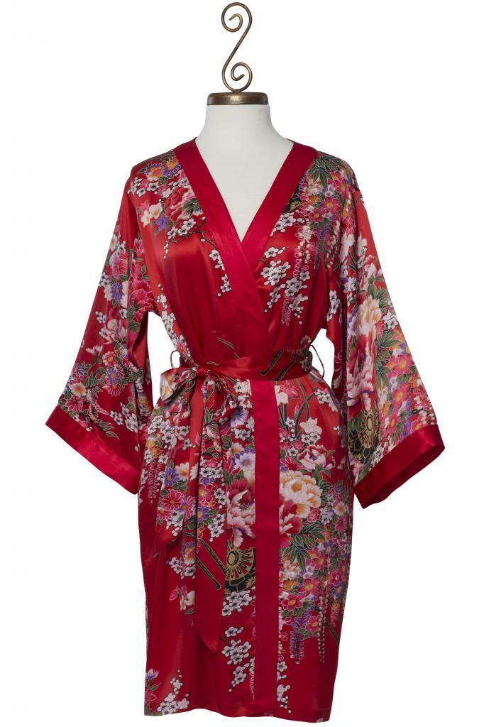 100% Silk, Women's Short Red Robe wrap with Kimono Collar- Imperial's Bouquet