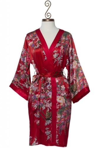 100% Silk, Women's Short Red Robewrap with Kimono Collar Imperial's Bouquet