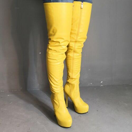 Women Platform Over Knee High Thigh Boots Round Toe High Stiletto Heel Leather