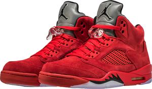 Nike air jordan retro 5 rosso scamosciato 2017 allevati nero 136027-602 sz 4y-13 uomini gs