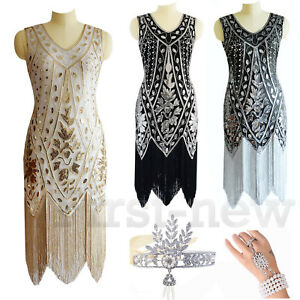 Womens-Sequin-Prom-Art-Deco-1920s-Flapper-Dress-Cocktail-Party-Bridesmaids-Gown