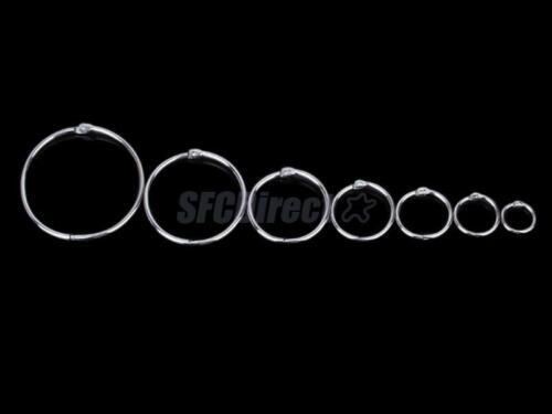 10 Nickel Plated Metal Loose Leaf Binder Rings Key Ring Scrapbook Craft Findings