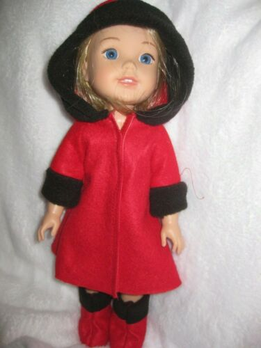 Wellie Wishers doll clothes//14.5 inch//red hooded coat with black felt trims//boot