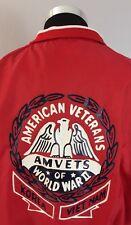 American Veterans Amvets Satin Jacket XL Red By Hilton WW2 Korea Vietnam (A2)