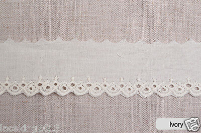 "14Yds Embroidery scalloped cotton eyelet lace 1.2""(3cm) YH1304a laceking2013"