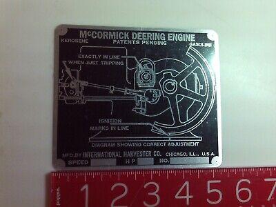 McCormick Deering Kerosene type M Timing Plate engine name tag Nameplate