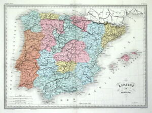 Spain Portugal Original Malte Brun Hand Coloured Antique Map C1850 Ebay