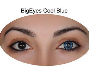 neuartiger Stil Waren des täglichen Bedarfs super service Details zu Farbige Big Eyes Kontaktlinsen mit Stärke Cool Blue / Dolly Black