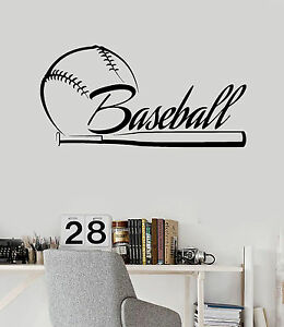 Vinyl Wall Decal Baseball Bat Word Sports Fan Stickers Mural - Vinyl wall decals baseball