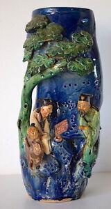 Vase-Indochine-Vietnam-Cay-Mai-Scene-Asiatique-XIX-19th-chinese-30-cm-CERAMIQUE