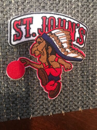 """John's University RED STORM Vintage Embroidered Iron On Patch 3"""" X 3"""" ST"""