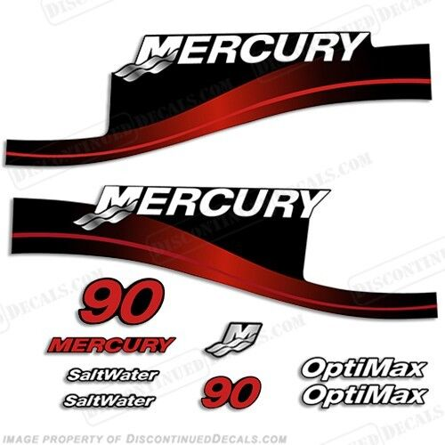 Mercury 90hp Outboard Decal Kit Blue or Red 90 1999-2004 All Models Available