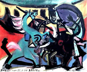 Pablo-PICASSO-1946-LITHOGRAPH-w-COA-Corrida-1934-UNIQUE-Picasso-print-RARE-ART
