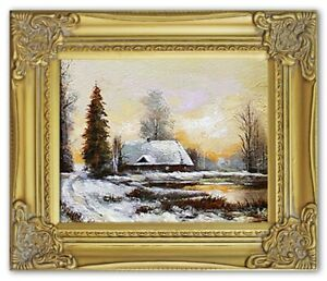 Painting-Nature-Hut-Forest-Handmade-Oil-Picture-Frame-G03346