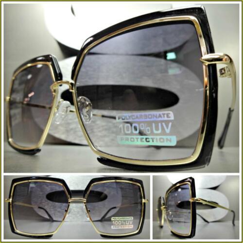 Classy Elegant VINTAGE RETRO Style Light Tint SUNGLASSES Square Black Gold Frame