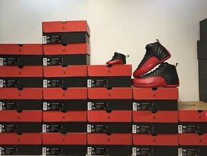 Nike Air Jordan 12 Retro Flu Game Black Red Bred TD PS GS Men Sz Shoes Ship Now