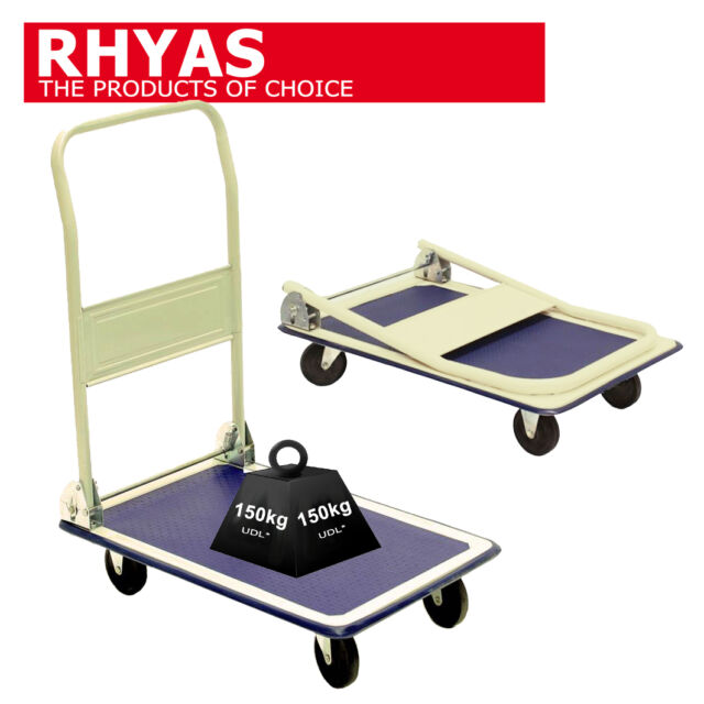 Rhyas 150Kg Heavy Duty Folding Platform Trolley Cart Sack Truck Warehouse
