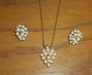Gorgeous-Bunches-of-Faux-Pearls-Baby-Crystals-Necklace-amp-Pierced-Earring-Set