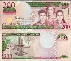 DOMINICAN-REPUBLIC-200-PESOS-ORO-2009-P-178-NEW-COLOR-UNC