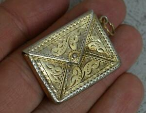 1906-English-Solid-Silver-Stamp-Envelope-Case-Holder-Pendant-with-Gilt-Finish