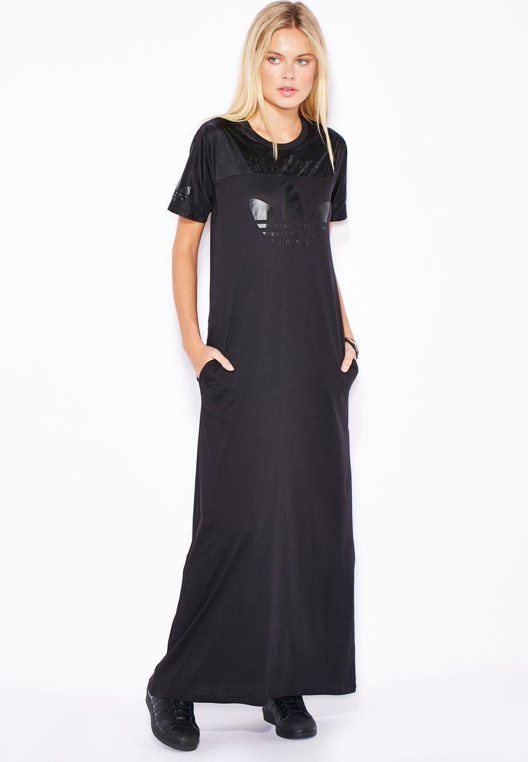 Adidas Originals W Long Maxi schwarz Dress Größe New (548)