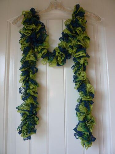 Sports Fan Handmade Crocheted Fashion Ruffle Scarf Blue//Lime Green