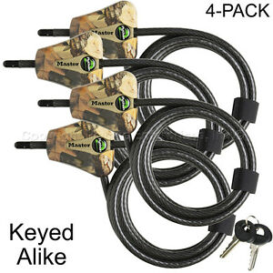Master Lock - (4) Python Trail Camera Camouflage Cable Locks 8418KA4 CAMO 4-Pack