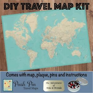 Details about DIY Teal Dream World Push Pin Travel Map Kit