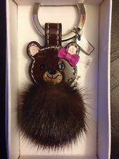 NWT COACH Mink Fur Teddy Bear Key Chain w/ Leather Bow Key Ring / Key Fob RARE