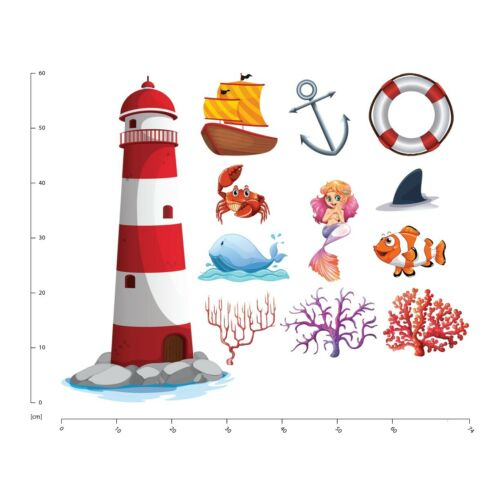 Lighthouse Mermaid Under The Sea Wall Sticker Set WS-41309