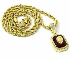 Mens 14k Yellow Gold Plated 24in Red Ruby Lion Face Hip Hop Rope Chain Necklace