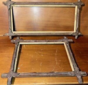 2 Antique Arts and Crafts Picture Frames; Kitschy Mission Style