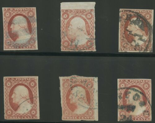 #11A 6 DIFFERENT USED WITH DIFFERENT CANCELS CV $90 BS5626