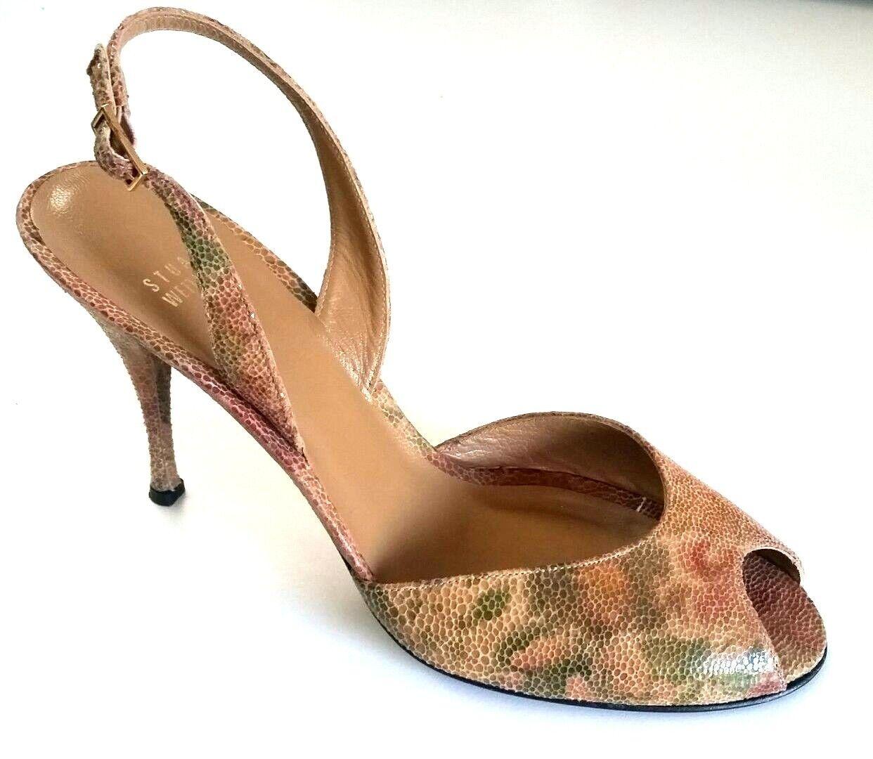 Stuart Weitzman MultiFarbe Embossed Leather Peep Toe Slim Heel Dorsay Sandal 9.5