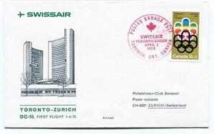 Ffc 1975 Swissair First Flight Toronto Zurich Switzerland Olympiad Xxi Canada