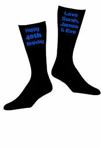 Personalised-Custom-Vinyl-Printed-Mens-Novelty-Black-Birthday-Everyday-Socks