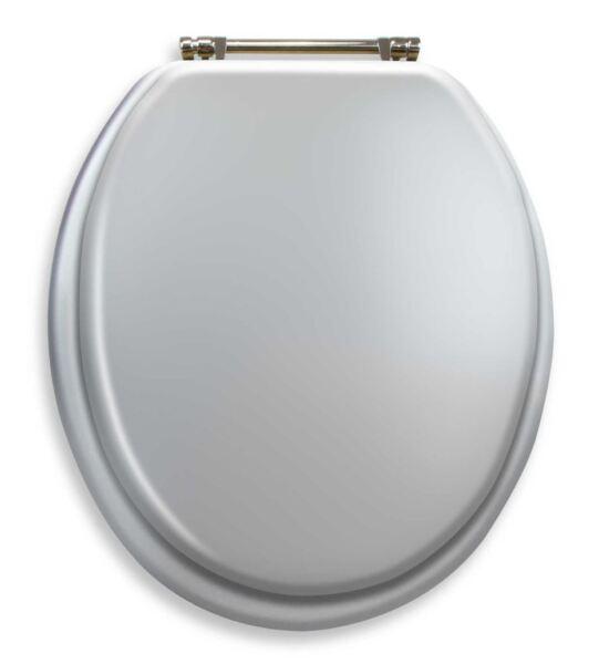 Silver Toilet Seat Standard Round Chrome Hinges Elegant Comfort Bathroom Decor