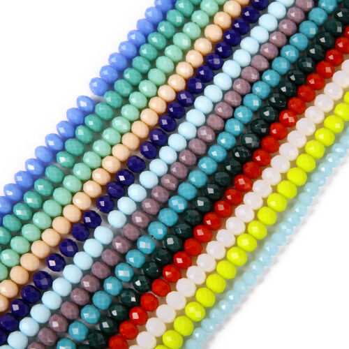 Lots Wholesale Rondelle Faceted Crystal Glass Loose Spacer Beads 3//4//6//8//10mm