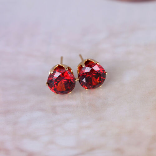 Black Pink Green Royal Blue Red Gemstone Stud 18K Yellow Gold Filled Earrings