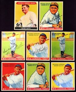 Set-of-8-1933-Goudey-Babe-Ruth-Reprint-cards-New-York-Yankees