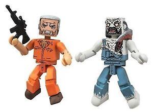 The Walking Dead Series 3 Minimates Prison Hershel and Farmer Zombie MINT