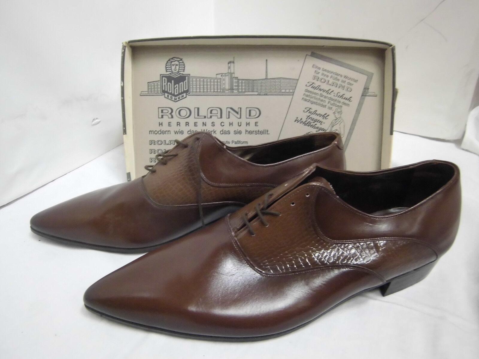 NOS Roland Schnürschuh Marronee Pelle Mezza scarpa True Vintage Tg. 8,5 scarpe VINTAGE | Fornitura sufficiente  | Gentiluomo/Signora Scarpa