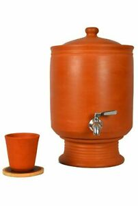 Indian traditional Clay Water Pot with Steel tap