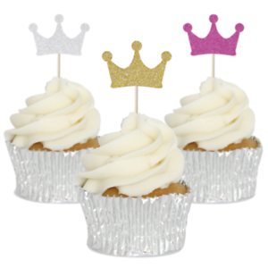 Image Is Loading Glitter Crown Cupcake Toppers 12pk Princess Party