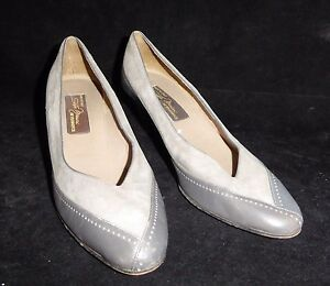9-N-Narrow-Vintage-Made-ITALY-SESTO-MEUCCI-Gray-Leather-Suede-2-5-034-Kitten-Pumps