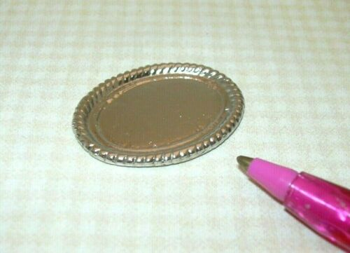 Miniature Oval Silver Tray w//Rope Border DOLLHOUSE Miniatures 1:12 #1