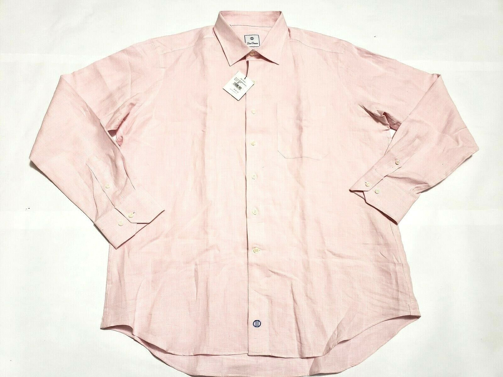 David Donahue XL Pink Plaid Long Sleeve Shirt New With Tags