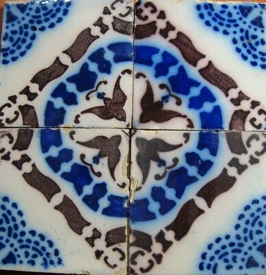 Set of 4 PAS CALAIS French original Desvres antique tiles 1890 Delft blue lines